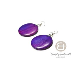 Purple Colored Wooden Earrings