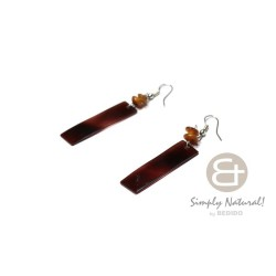 Black Tab Shell Bar Earrings