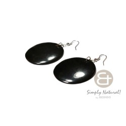 Round Black Horn Earrings