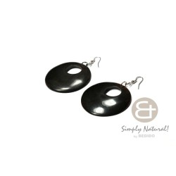 Black Horn Earrings with Hole