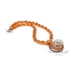 Glass Beads Necklace with...