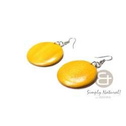 Yellow Colored Wood Earrings