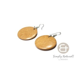 Polished Round Wood Earrings